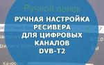 Ручная настройка ресивера для цифровых каналов DVB-T2