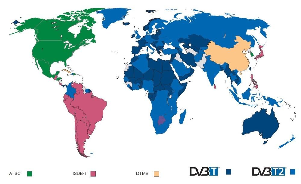 Карта распространения стандартов цифрового телевидения